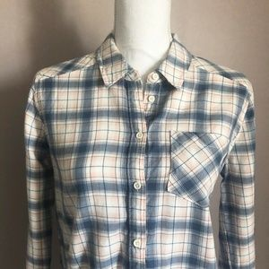 PAIGE Pink Blue Ivory Flannel Button Down Shirt
